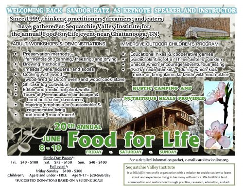 Food for Life Flyer 2018, Food, Fun, Education, Community, Workshops, Sandor Katz