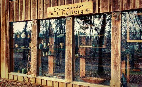 Liquidambar Art Gallery at Sequatchie Valley Institute, fine art and crafts by skilled artisans, including ceramics, paintings, kaleidoscopes, electroformed mixed media sculpture, and flameworked glass