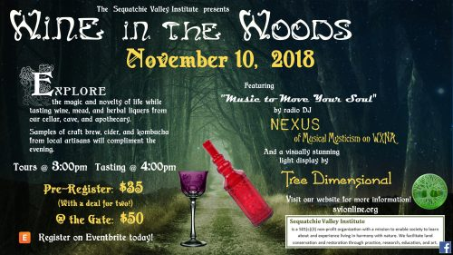 Wine Tasting Flier Wine in the Woods November 2018